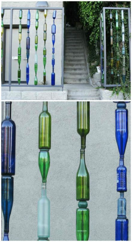 Garden Fence with Recycled Glass Bottles