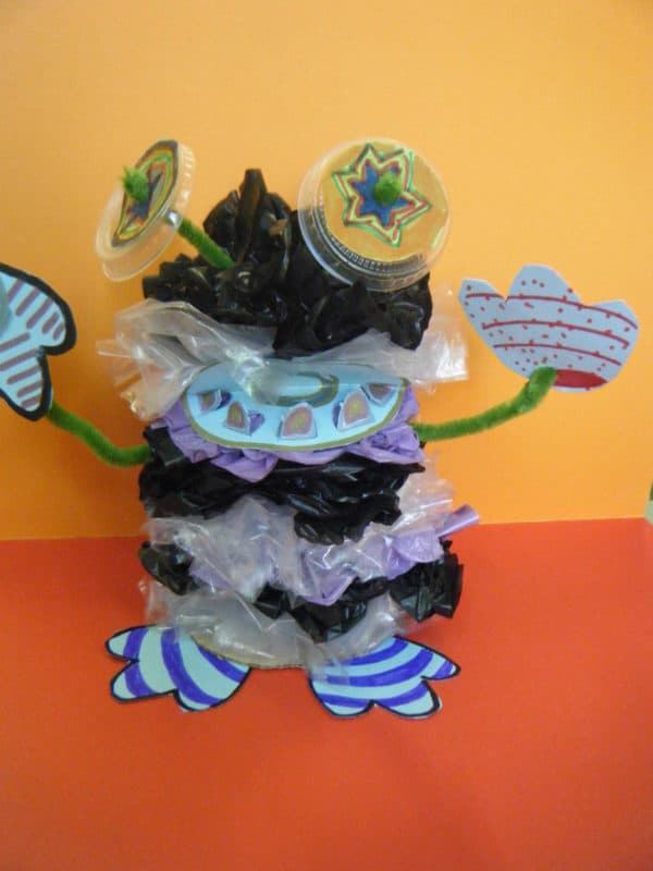 Plastic bag monster in plastics art  with Puppet Plastic monster Art