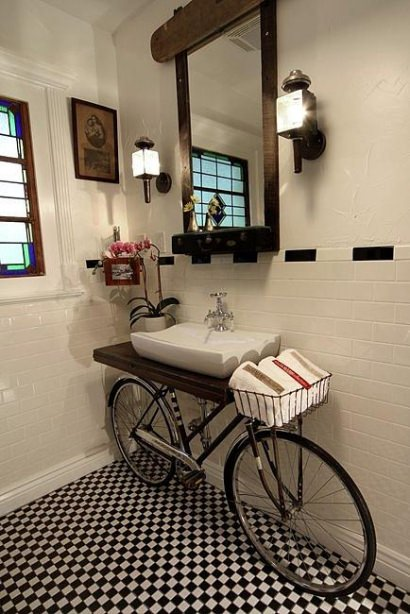 Bike in the bathroom