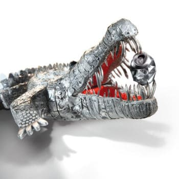 Crocodile cans sculpture