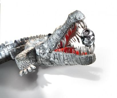 Crocodile cans sculpture