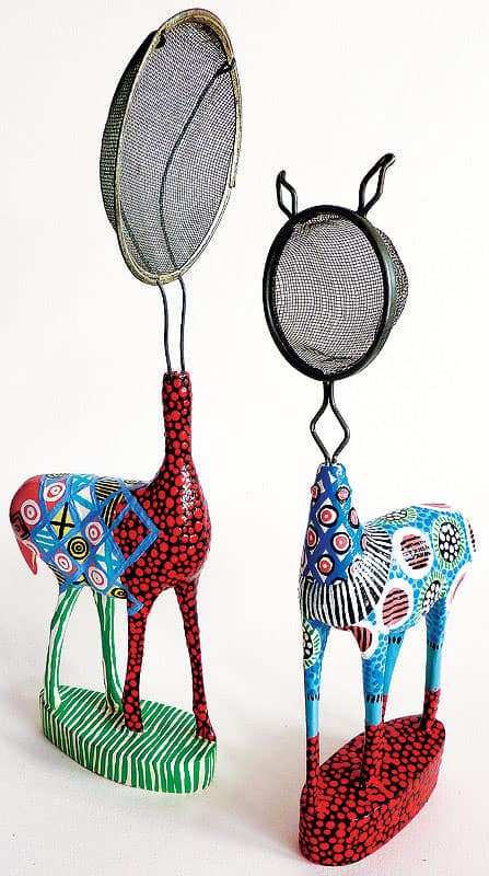 Domesticated Does in art metals  with Animals