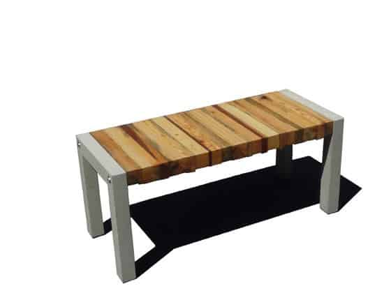 essences bench 2 Essence Bench in wood furniture  with Wood / organic Upcycled stool Furniture Bench