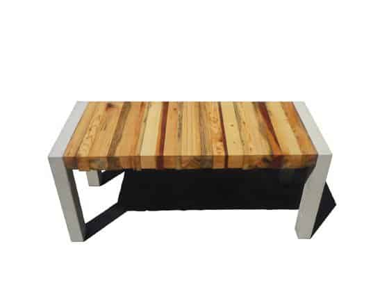 Essence Bench in wood furniture  with Wood upcycled furniture Upcycled stool Bench