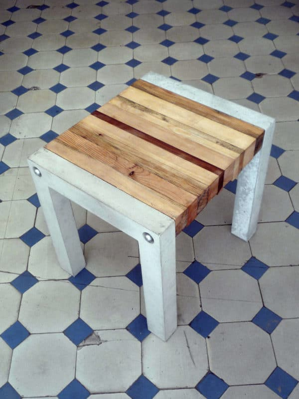 Essence Bench in wood furniture  with Wood Upcycled stool Furniture Bench