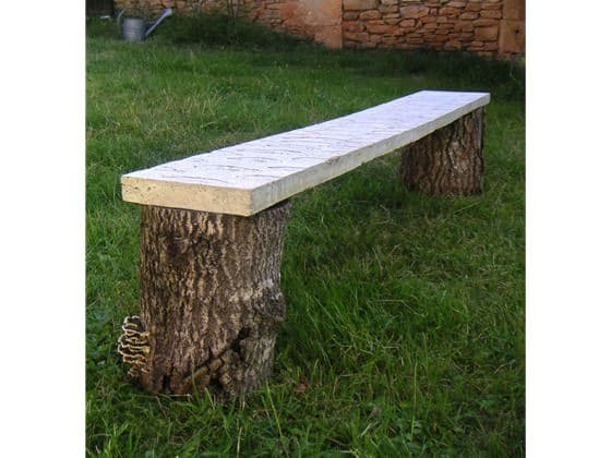 Fossile Bench in furniture  with upcycled furniture concrete Bench
