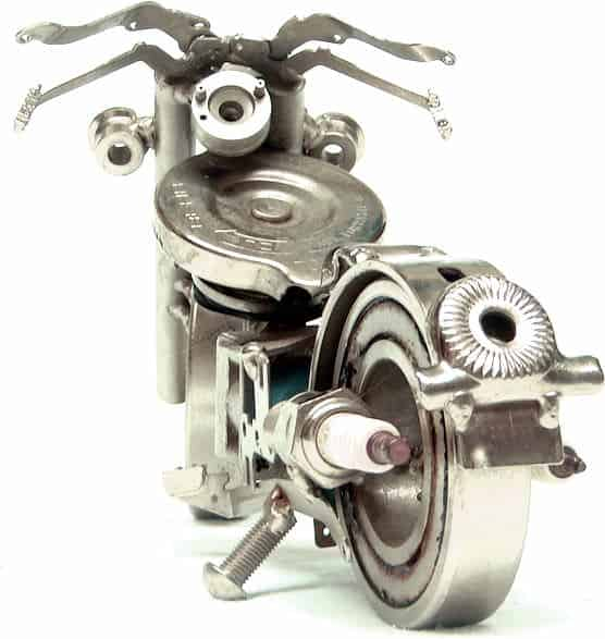 moto 3 f Sculptor concerned about the sustainability in art  with Sculpture Motorcycle Metal Art