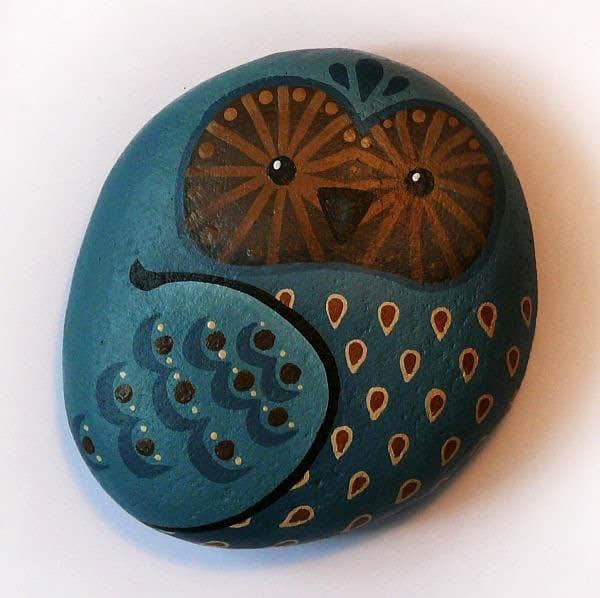 Painted Owl Rocks Recycled Art