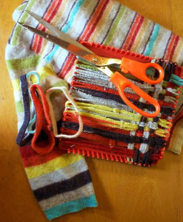 Sweater turns into a Potholder in fabric diy  with