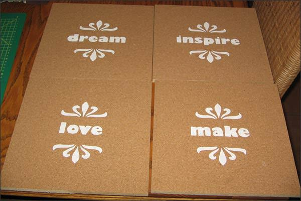 Stenciled Cork Boards Do-It-Yourself Ideas Recycled Cork