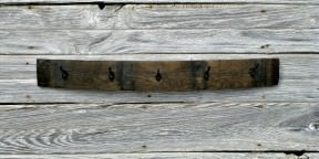 Wine Barrel Stave Crate with Rusty Cast Iron Hooks