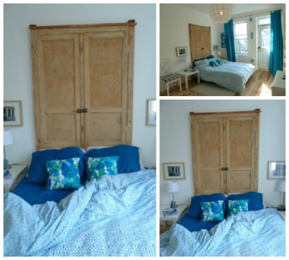 Headboard Made From Antique Wall Cupboard Doors
