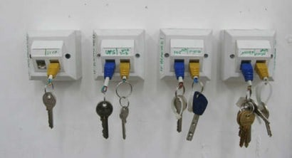 Colorful key chain and rack