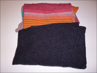 Upcycled wool sweater goodie bag
