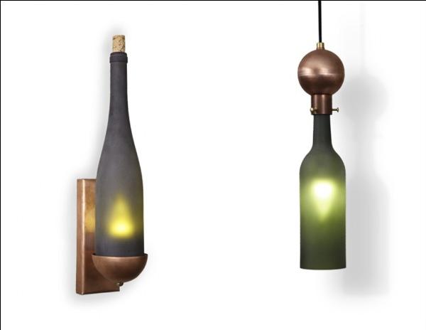 Recycled wine bottle chandelier recyclart - Wine bottles chandelier ...