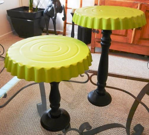 Cake stands in metals diy  with Candle Cake