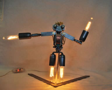 Metal Machine Man Lamps & Lights Recycled Electronic Waste