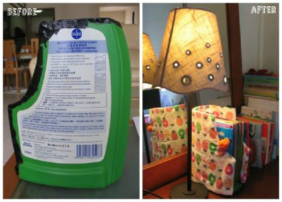Making Bookends from Recycled Detergent Bottles