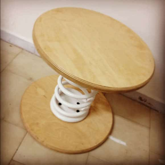 Shaky=Table in wood furniture  with Wood Waste upcycled furniture Table