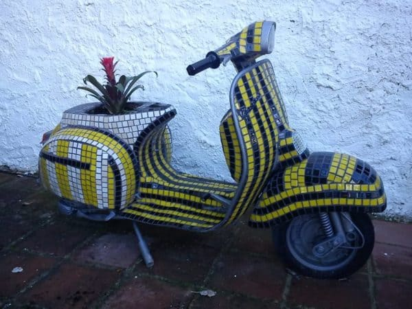 Vespa Flower Power in bike friends  with Vespa Recycled pot Glass