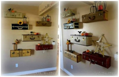 Upcycled Suitcases Into Shelves