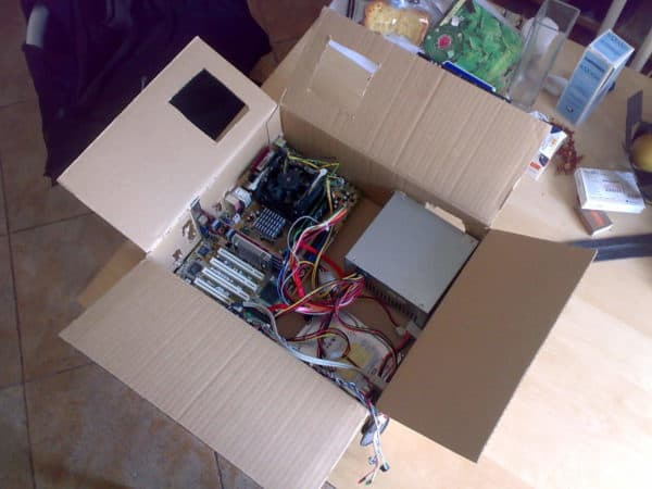 Cardboard PcBox in electronics cardboard  with usb motherboard Desk custom Computer