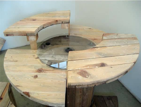 Cable Reel Desk in wood furniture  with Wood / organic Recycled Desk Computer