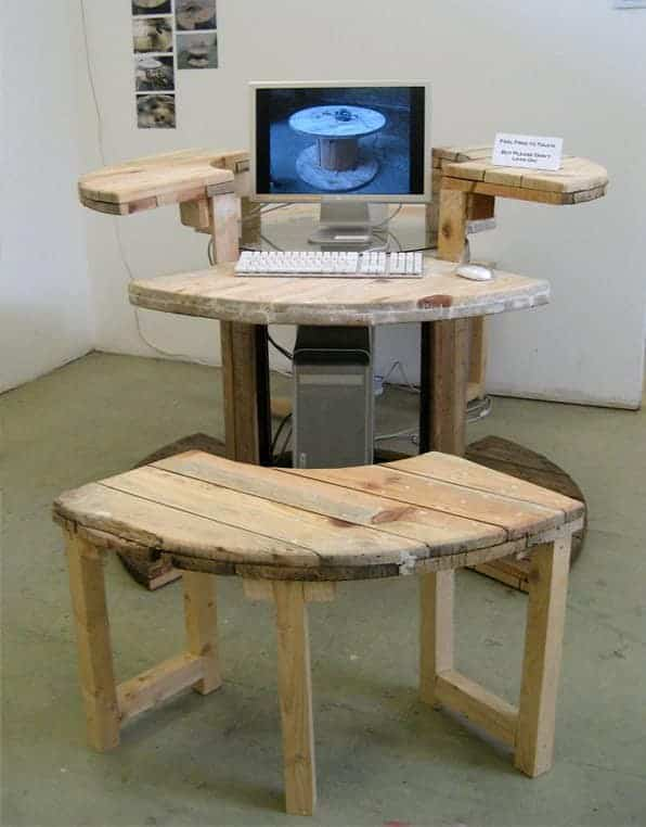 Cable Reel Desk in use Cable Reel Desk in wood furniture  with Wood / organic Recycled Desk Computer