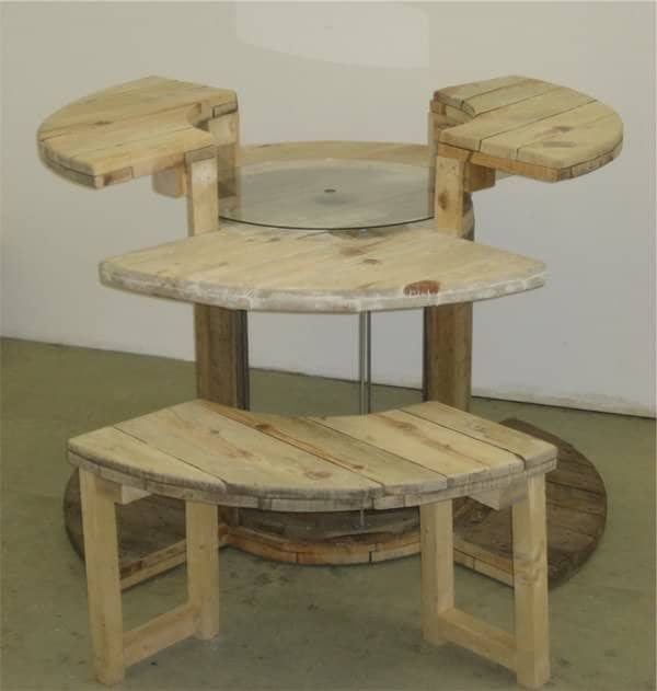 Cable Reel Desk in wood furniture  with Wood Recycled Desk Computer