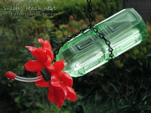 Earth Day Plastic Bottle Plastic Spoons Hummingbird Feeder Upcycle Pic 19 600x450 Plastic Spoon & Bottle Hummingbird Feeder in plastics diy  with Upcycled tutorial Spoon Repurposed Recycled Flower feeder DIY