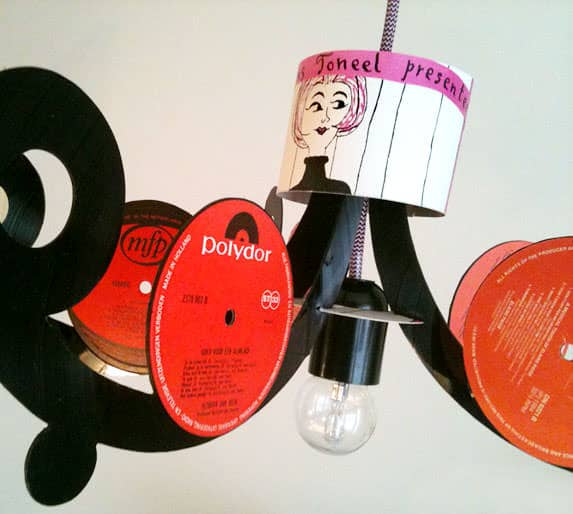 Vinyl Record LP Chandelier in vinyl records lights  with Vinyls Upcycled Reused Recycled Record Music Dutch Chandelier