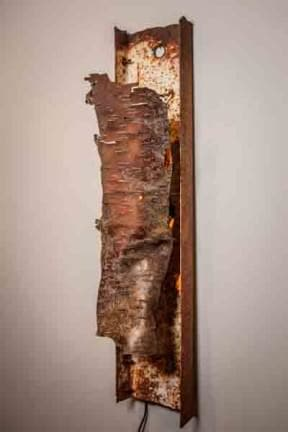 Water Birch Bark and Scrap Metal Sconce