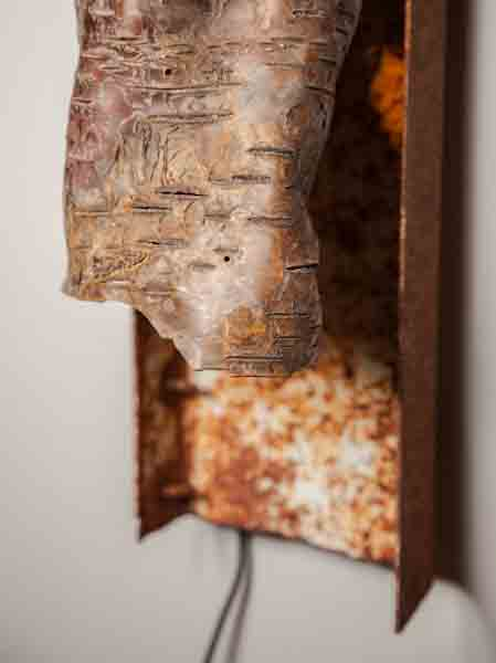 Water Birch Bark and Scrap Metal Sconce Lamps & Lights Recycled Art