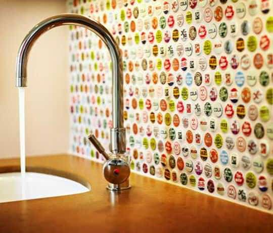 Bottle cap backsplash in packagings diy  with kitchen Bottle