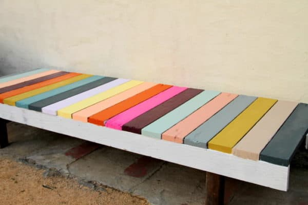 colorful bench2 600x400 DIY : Colorful bench in wood diy  with DIY Color Bench