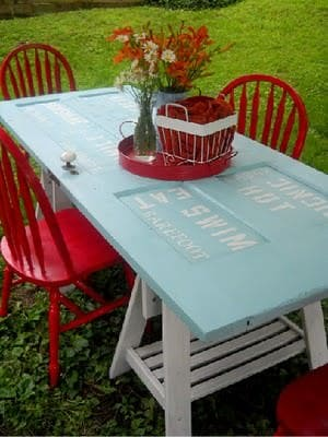 Door table in wood furniture diy  with Table Garden ideas Door