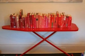 Ironing board as a bookshelf