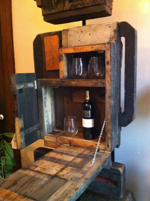 recycleart 3 597x800 Volstead   Foundy molds upcycled into a bar with mood lighting in wood furniture  with Wood / organic Robot Light Bar
