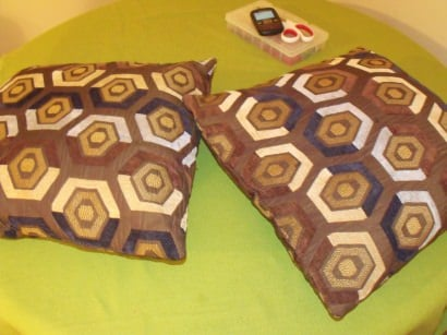 Handmade Pillows from comforter, table cloth & pants
