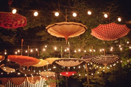Upside down umbrellas as decoration !