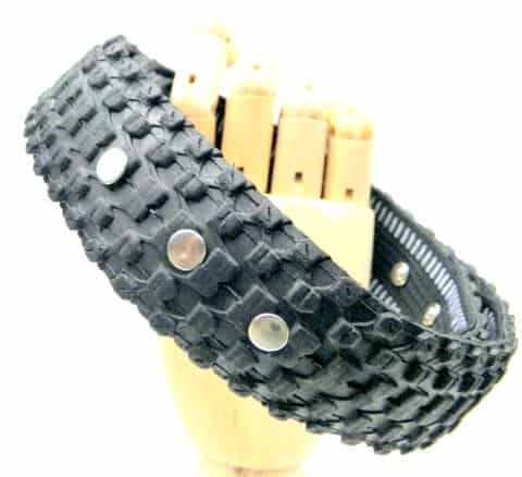 P5080068 Recovered Bike Tire Belt in tyre inner tube accessories  with Upcycled tyre Tire rubber Reused Recycled Metal Green DIY Cloth Bike Accessories 
