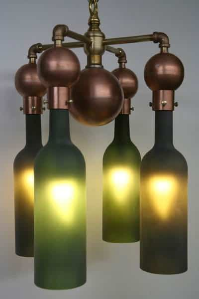 Recyclart 4 Bot. MG 9073 Recycled Wine Bottle Chandelier in lights  with Upcycled Repurposed Recycled Light LED Lamp energy saving Chandelier