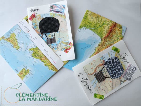 carte montgolfiere1 4 600x450 Postcards made with scrap in paper diy accessories  with postcards Paper & Books Letter