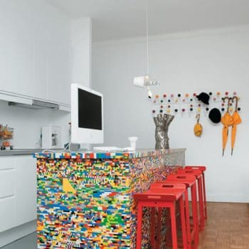 Kitchen Island Customized With 20,000 LEGO Pieces