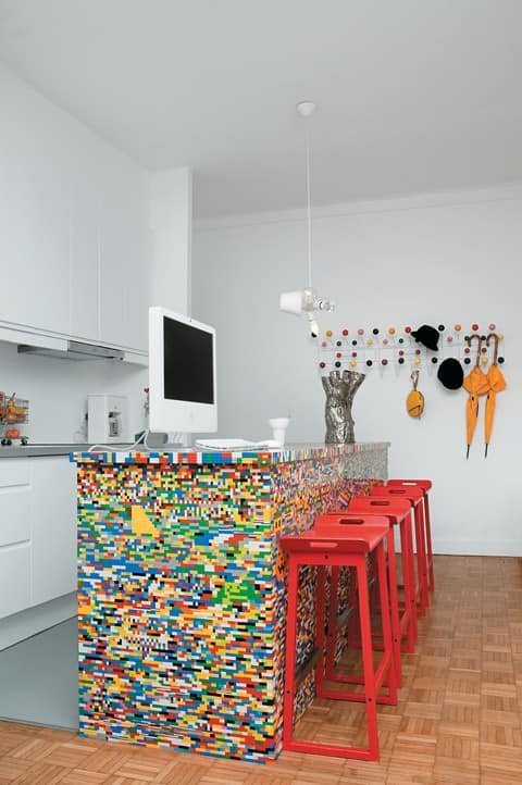 Lego kitchen island in social art plastics architecture  with upcycled furniture lego kitchen