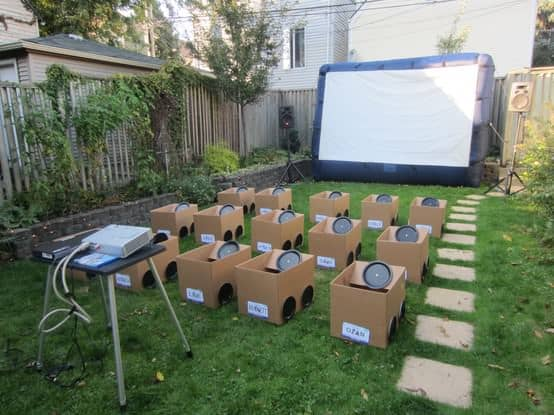 Backyard drive in movie party ! in social diy cardboard  with movie Kid