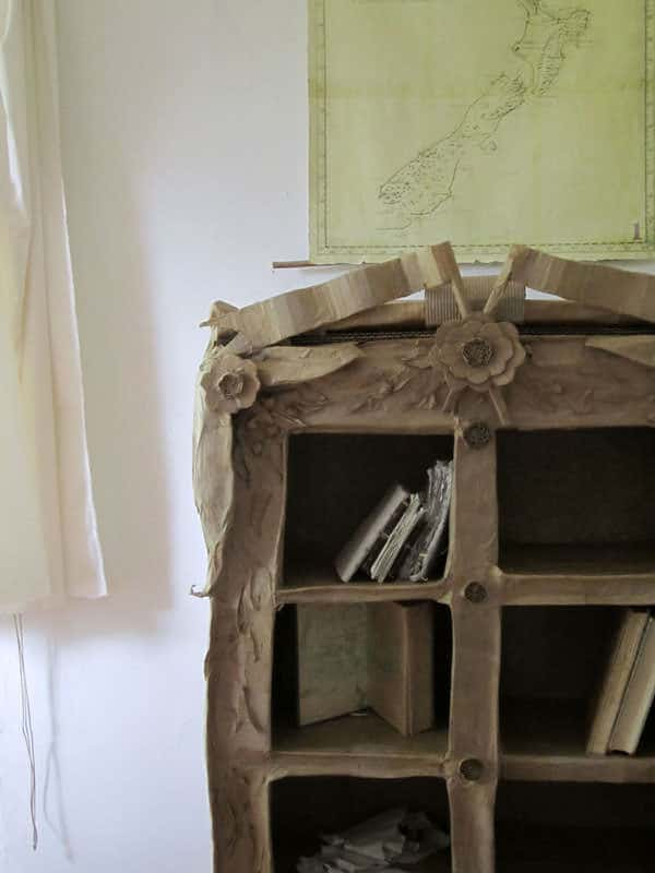 Cardboard Curiosity Cabinet in furniture cardboard  with upcycled furniture Recycled Art Recycled eco friendly Cardboard cabinet