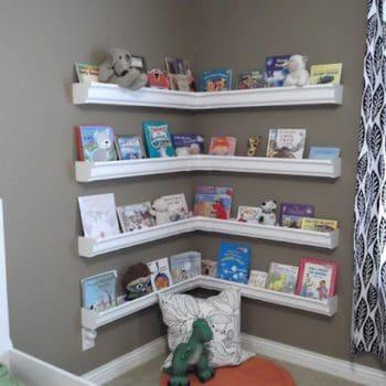 Rain gutters as bookshelves