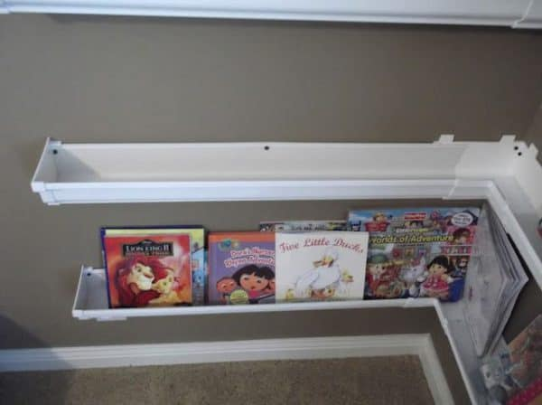 Rain gutters as bookshelves in plastics metals diy  with rain gutter home decor Books