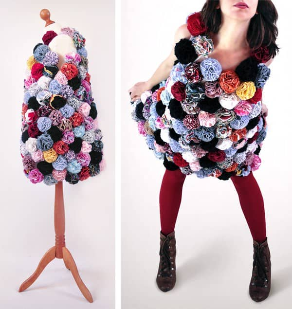 Blooming Dress in fabric  with shirt Recycled Art Flowers fashion Fabric Dress DIY Clothes
